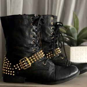 Gold Studded Combat Boots - Gently Worn!